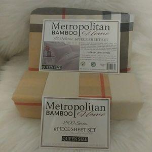 Metropolitan Bamboo Queen Plaid Sheet Set